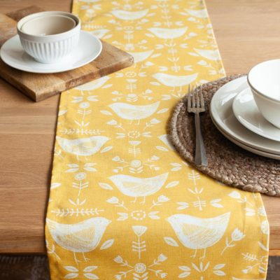 Yellow Scandi Birds Table Runner