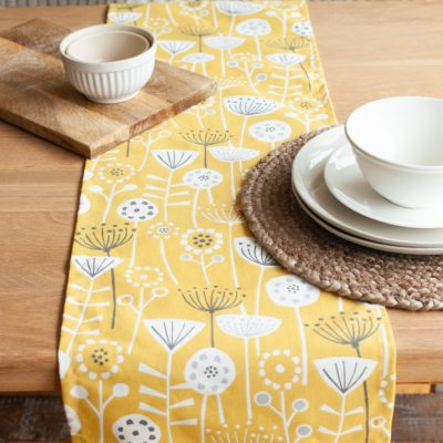 Scandi Floral Print Table Runner in Yellow and Grey