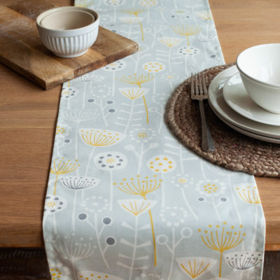 Scandi Floral Print Table Runner in Grey