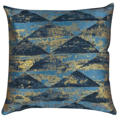 Metallic Pyramid Cushion in Teal and Gold