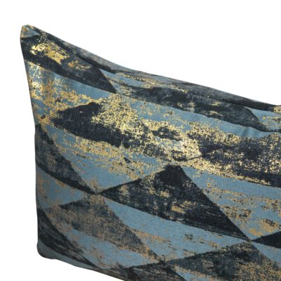 Metallic Pyramid XL Rectangular Cushion in Teal and Gold