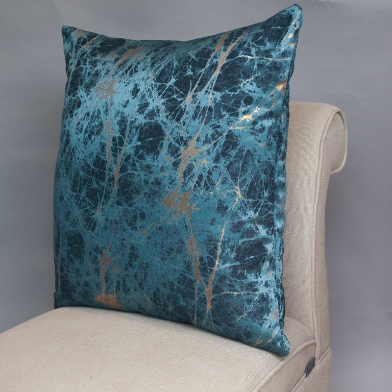 XL Metallic Marble Cushion in Teal and Gold
