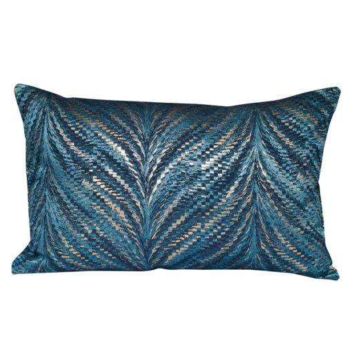 Metallic Fan Feather XL Rectangular Cushion in Teal