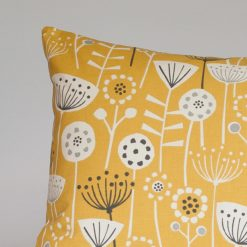 Geometric Scandi Floral XL Rectangular Cushion in Yellow