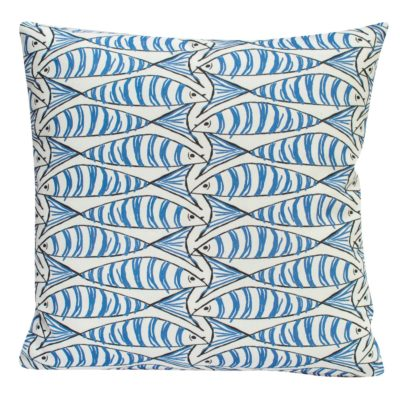 Blue and White Sardine Cushion