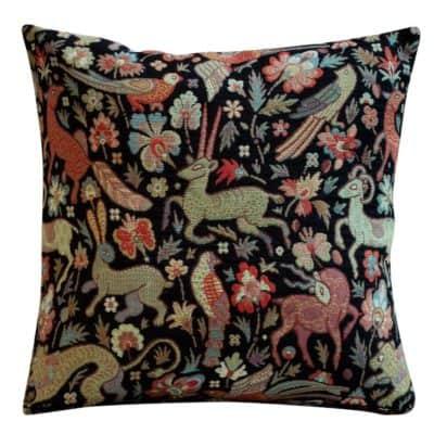 Mythical Animals Cushion in Black