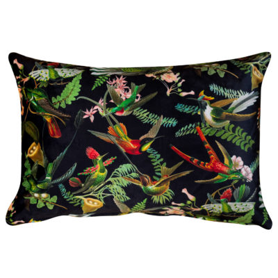 Velvet Botanical Hummingbird Boudoir Cushion