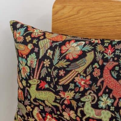 Mythical Animals XL Rectangular Cushion in Black