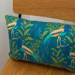Vibrant Peacock Boudoir Cushion in Indigo and Teal