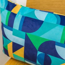 Rectangular Abstract Picasso Velvet XL Cushion in Blue and Green