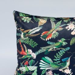 Velvet Botanical Hummingbird XL Rectangular Cushion