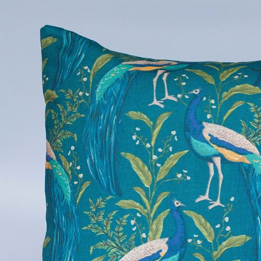 Vibrant Peacock XL Rectangular Cushion in Indigo and Teal