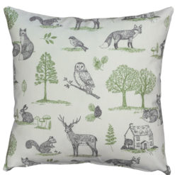 Country Woodland Animals Cushion in Grey and Green