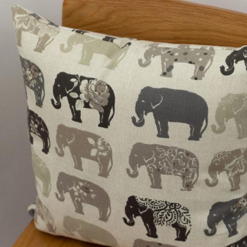 Linen Effect Vintage Floral Elephant Cushion