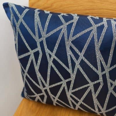 Geometric Indigo Blue Embroidered Faux Silk Cushion
