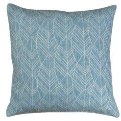 Boho Scandi Woven Leaf Cushion in Duck Egg Blue