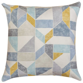 Pastel Geometric Block Print Cushion in Blue Green