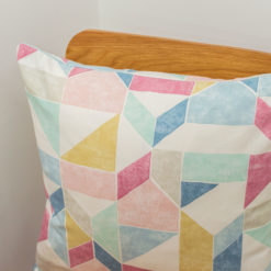 Pastel Geometric Block Print Cushion in Purple Pink