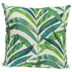 Linen Palm Leaves Cushion in Green