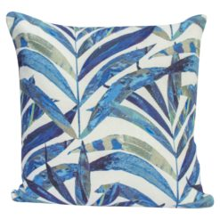 Linen Palm Leaves Cushion in Blue