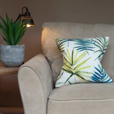Blue Green Palm Fronds Cushion