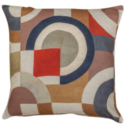 Retro Linen Geo Block Print Cushion in Pumpkin Spice