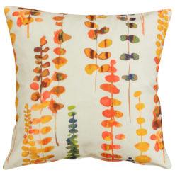 Tropical Eucalyptus Print Cushion in Orange