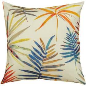 Tropical Orange Palm Fronds Cushion
