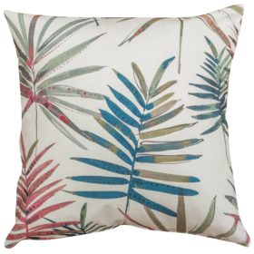 Pink and Blue Palm Fronds Cushion
