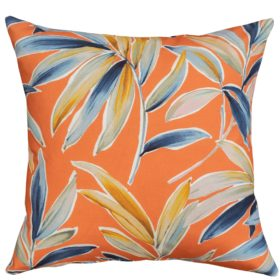 Tropical Banana Leaf Print Cushion in Orange