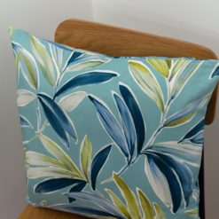 Tropical Banana Leaf Print Cushion in Duck Egg Blue