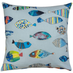 Vintage Style Tropical Fish Cushion in Ocean Blue