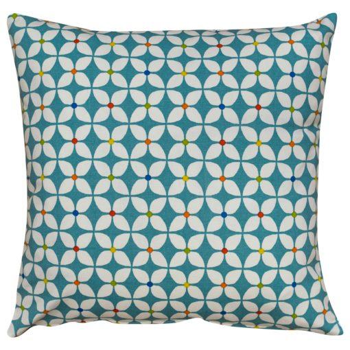 Retro Mini Geometric Print Cushion in Teal Blue