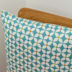 Retro Mini Geometric Print Cushion in Teal Blue
