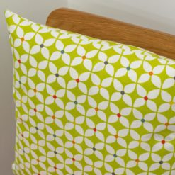 Retro Mini Geometric Print Cushion in Lime Green