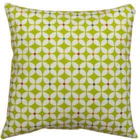 Retro Mini Geometric Print Cushion in Lime Green