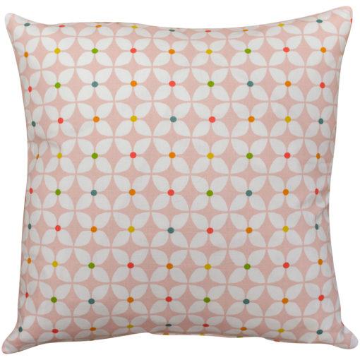 Retro Mini Geometric Print Cushion in Pink