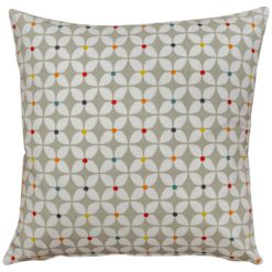 Retro Mini Geometric Print Cushion in Grey