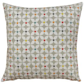 Retro Mini Geometric Print Cushion in Grey