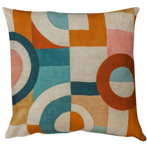 Retro Linen Geo Block Print Cushion in Cinnamon