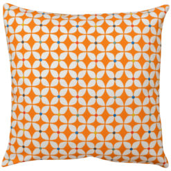 Retro Mini Geometric Print Cushion in Orange