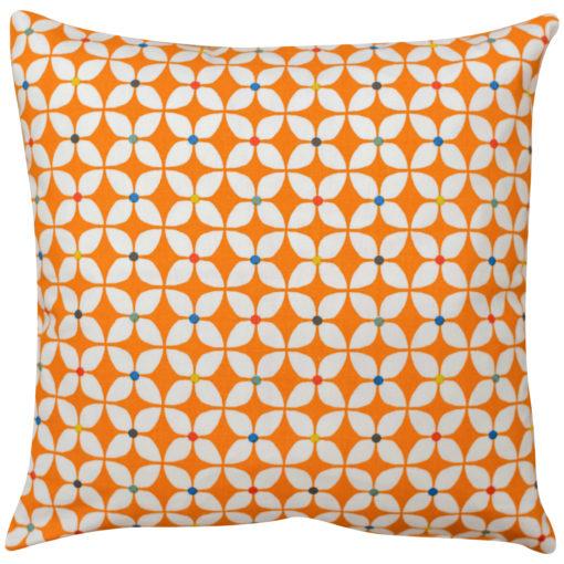 Retro Mini Geometric Print Cushion in Orange