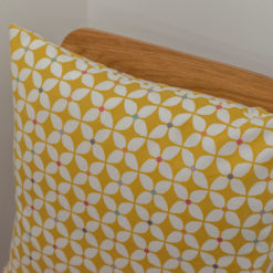 Retro Mini Geometric Print Cushion in Ochre