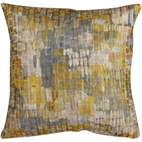 Abstract Painterly Style Cushion in Ochre and Grey