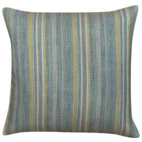 Herringbone Striped Cushion in Mineral Blue