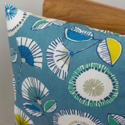 Scandi Floral Cushion in Denim Blue & Ochre