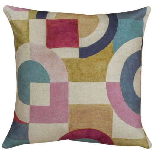Retro Linen Geo Block Print Cushion in Pink and blue