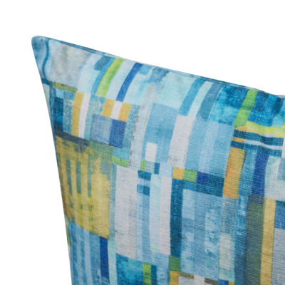 Cubist Chenille Extra-Large Cushion in Lagoon