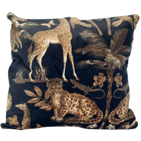 XL Velvet Animal Print Cushion in Black and Gold