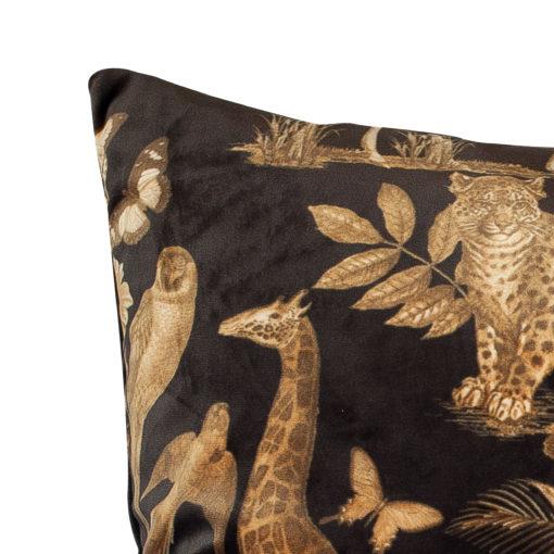 XL Velvet Animal Print Rectangular Cushion in Black and Gold